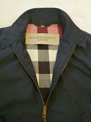 Burberry Brit Men#x27;s Small Lightweight Jacket Navy With Plaid Lining $200.00