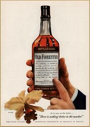 1947 A Old Forester Bourbon Whiskey Bottle Nothing Better On Market Print Ad