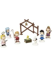 Department 56 Peanuts Christmas Pageant Nativity Scene Set Of 8 802162 New