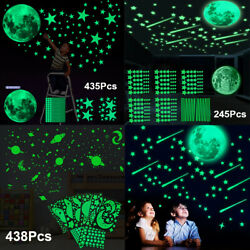 3D Glow In The Dark Luminous Stars Moon Wall Stickers Space Kid Ceiling Decor US