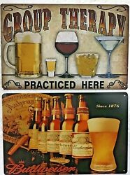 8x12 Tin Signs 2pc Set Funny Alcohol Beer Budweiser Group Therapy Bar Man Cave