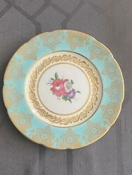 Paragon By Appointment To Queen Bone China Saucer White W/teal Gold Trim Floral