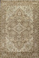 Excellent Vintage Muted Geometric Heriz Area Rug Handmade Oriental 8and039x11and039 Carpet