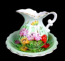 Lefton China Multicolor Flowers Pastel Green And Gold 6 1/2 Pitcher And Bowl