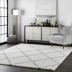 Nuloom Moroccan Lattice Shag Rug White 10and039 X 13and039