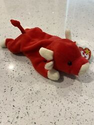 TY Retired beanie baby Snort The Red Bull PVCPellets 1995 Rare Errors In Tag