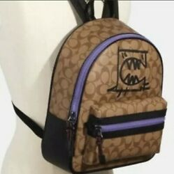 Coach Vale Medium Charlie Backpack In Signature Canvas With Rexy By Guang Yu $79.99
