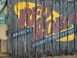 Red Robin Restaurant Gourmet Burgers And Spirits Classic Advertising Sign 36wx29t