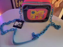 Loungefly MTV Crossbody Bag Clear With Interior Pouch 2 Piece NEW $42.99