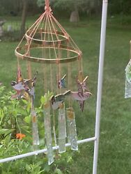 Glass Wind Chime Vintage Chinese Style Hand Painted Birds And Dots Cut Glass