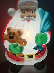 Vtg African American Black Santa Claus Lighted Empire Blow Mold- 39 - Works