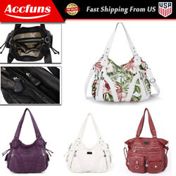 Angelkiss Women Soft Washed Leather Shoulder Tote Bag Purses Satchel Handbags $32.15