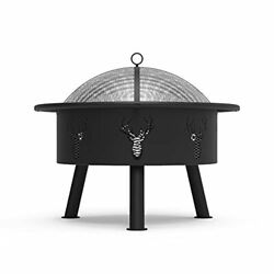 Blue Sky Outdoor Living 29 Outdoor Fire Pit Barrel With Safety Ring And Cove...