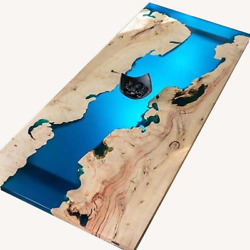 Blue Epoxy Resin Wooden Dining Table Top Handmade Furniture Decor Made To Order