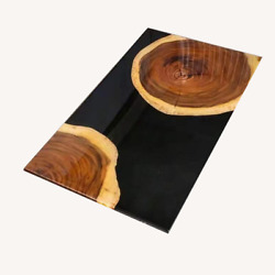 Black Wooden Acacia Table Decorative Dining Epoxy Furniture Decors Made To Order