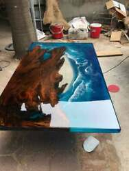 Walnut Table Epoxy Blue River Dining Table Furniture Decorative Made To Order