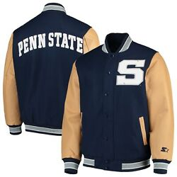 Penn State Nittany Lions Starter The Letterman Varsity Wool And Leather Full Snap