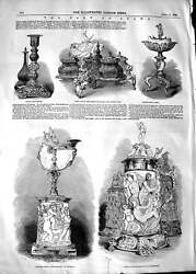 Original Old Antique Print 1848 Stowe S Candelstick Lamp Ivory Tankards 19th
