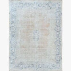 9and0398x12and0397 Wool Farsian Tebraz Vintage Beige Clean Hand Knotted Rug R61321