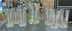 Vintage Striped Fruits 32 Oz. Glass Pitcher And 6 Small 8 Oz. Glasses Set