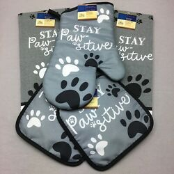 Home Collection Kitchen Set 5 Pieces Stay Pawsitive Oven Mitt Pot Holders Towel