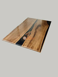 Black Resin River Dining Table Top Epoxy Design Acacia Wooden Table Luxury Deco