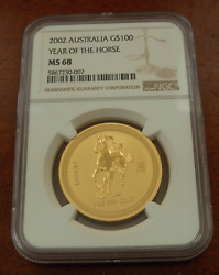 Australia 2002 Gold 1 Oz 100 Ngc Ms68 Year Of The Horse