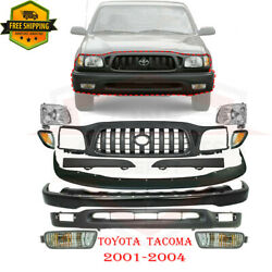 For 2001-2004 Toyota Tacoma 2wd Front Bumper Primed Kit Grille And Headlights 12pc