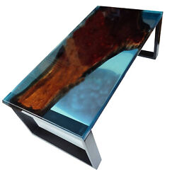 Transparent Mappa Burl Wood Epoxy River Table Natural Wooden Style Made To Order