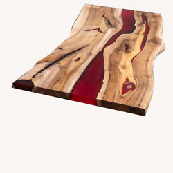Red Wooden Epoxy Sofa Center Din Table Top Handmade Bar Table Deco Made To Order