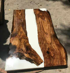 White Epoxy Resin River Dining Table Top Resort Decors Furniture Made To Order