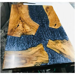 Resin River Epoxy Wooden Acacia Table Top Resort Decor Furniture Made To Order