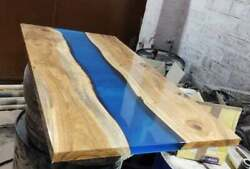 Blue Furniture Dining Table Top Epoxy Resin Wooden Acacia Table Made To Order
