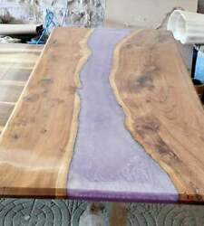 Transparent Pink Wooden Acacia Custom Epoxy Dining Table Decorate Made To Order