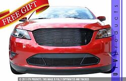 Gtg 2010 - 2012 Ford Taurus Sho 4pc Gloss Black Replacement Billet Grille Kit