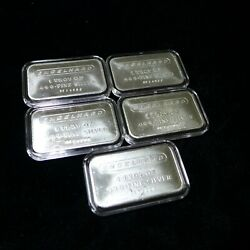 Lot Of 5 Vintage 1980 Engelhard 1 Oz. .999+ Silver Bars Frosted Reverse Pf Sn