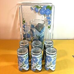 Digby Tray 6 Cups And Pitcher Morning Glory Retro H.j. Stotter Inc.