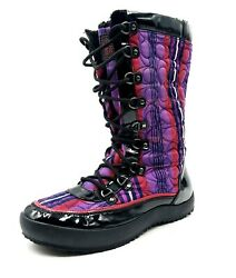 Coach Peggey Signature Womens Size 9.5 Purple Sherpa Lined Plaid Mid-calf Boots
