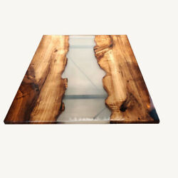 Transparent Resort Wooden Acacia Epoxy Dining Table Furniture Deco Made To Order