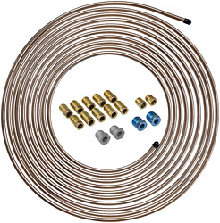Copper Coated Steel Brake Line Tubing Coil And Fitting Kit 1/4 X 25