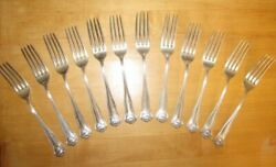12 Antique Wm Rogers Mfg Co Sterling Silver Dinner Forks Shell Pattern