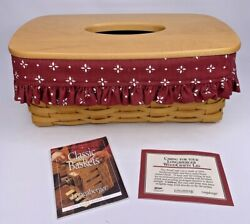 Longaberger 2001 Long Tissue Box Basket With Lid Traditional Red Liner Flyer