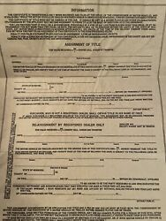1966 Ford Fastback Certificate Of Title Hotrod Collectible Rare