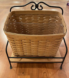2004 Longaberger Newspaper Basket And Wrought Iron Stand With Wooden Shelf