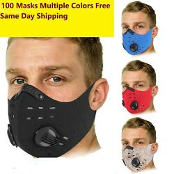 Lot Of 100 Masks Sport Cycling Face Mask Active Carbon Filter Valve Washable