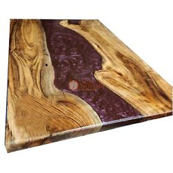 Oak Table With Shiny Red Epoxy River Fully Handmade Dining Customize Table Tops