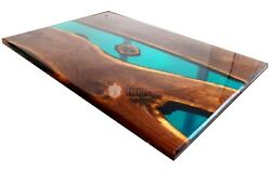 Epoxy Resin Green Shiny River Wooden Dining Customize Table Top Handmade Decor