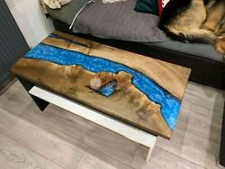Made To Order Custom Deep Sea Blue River Epoxy Custom Dining Center Table Top
