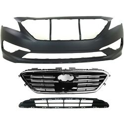 Bumper Cover Kit For 2015-2017 Sonata Models With Sport Type Grille Front 3pc