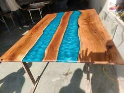 Blue Furniture Wooden Walunt Living Dining Decorative Epoxy Table Made To Order
